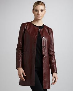 Neiman Marcus Basic Long Leather Jacket - Neiman Marcus