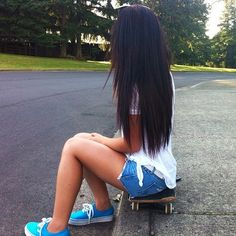 Long hair. Shoes