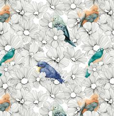 Repeating illustrated bird and flower pattern