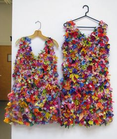 Turning trash into fashion treasure: These beautiful dresses are made entirely from artificial flowers salvaged from cemetery dumpsters!