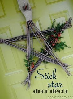 Stick Star Door Decor - super easy and cost nothing to create via sasinteriors.net
