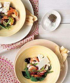 No-Cook Marinated Shrimp With Mediterranean Salad recipe: Use this easy mixture of lemon juice, fresh basil, and olive oil to infuse shrimp with flavor.