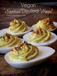 "Vegan Eggless Deviled ""Eggs"" - mostly raw"