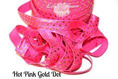 Hot Pink Gold Dot  Metallic Print Elastic  by LilysFlowerSupply, $2.20 sew suppli, doll cloth, print elast, metal print, craft suppli, gold dot, pink gold, ag doll, dot metal