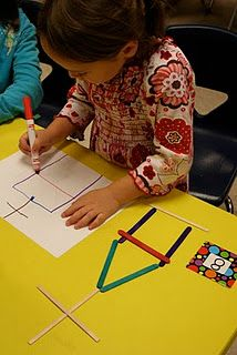 Popsicle sticks math--kids pick a number, create a design with sticks.  Copy onto paper. Write number.