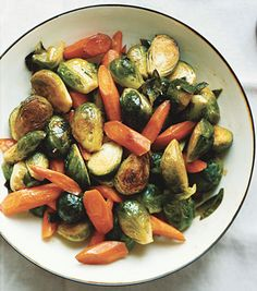 carrots and brussel sprouts.