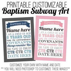 baptism subway art-can customize name