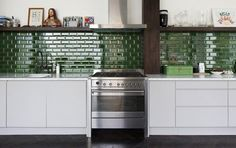 green subway, emerald, color, kitchen backsplash, green kitchen, modern kitchens, subway tiles, white cabinets, open shelving