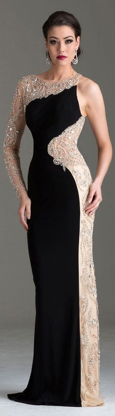 Beautiful curved cut lines of embellished lace