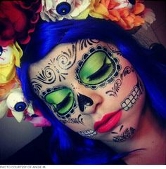 The Coolest Day of the Dead Sugar Skull Makeup Looks costum, makeup tutorials, skull tattoos, halloween makeup, los muerto, makeup ideas, makeup kit, sugar skull makeup, makeup looks