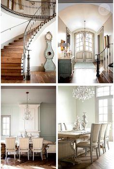 Stunning! Dark stained floors, metal railing. Grey molding, herringbone floors, linen upholstery