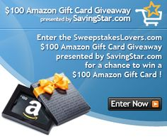 Enter the SweepstakesLovers.com $100 Amazon Gift Card Giveaway presented by SavingStar.com for a chance to win a $100 Amazon.com Gift Card !  Enter at http://www.sweepstakeslovers.com/our-giveaways/sweepstakeslovers-com-100-amazon-gift-card-giveaway-presented-by-savingstar-com/