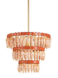 Orange-White Shell Chandelier by Marjorie Skouras