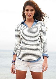 dELiAs > Striped V-Neck Sweatshirt > new arrivals > sweatshirts - StyleSays