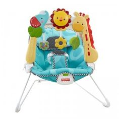 The 2-in-1 Sensory Stages Bouncer has a two-sided toy bar for newborns & babies 3 months and up.