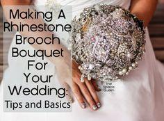 DIY Rhinestone Brooch Wedding Bouquet Tutorial -- Basics - #diy #rhinestone #wedding #bouquet