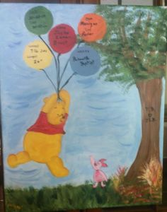 Pooh wall hanging with vital stats
