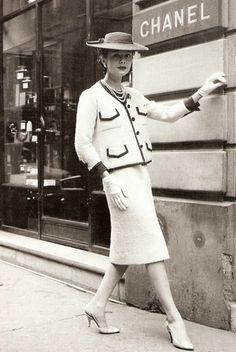 coco chanel, fashion, grey suits, handbags, 1950s, dresses, woman style, hat, vintage chanel
