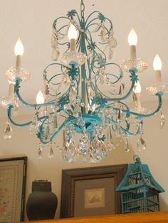 Yard sale find chandelier, painted blue, from Restoration Redoux