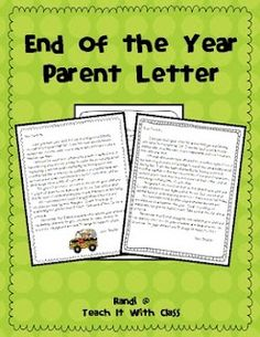 End of year parent letter freebie