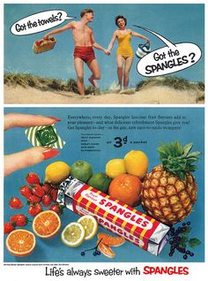 Towels and candy, all you need for a great day at the beach! :) #vintage #ad #food #1950s #candy