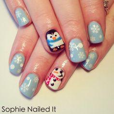 holiday nails, nail designs, christmas nails, nail arts, penguin, winter nails, christma nail