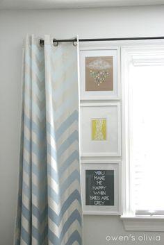 Grey Boys Bedroom Nursery with Ombre Chevron Curtains - blue