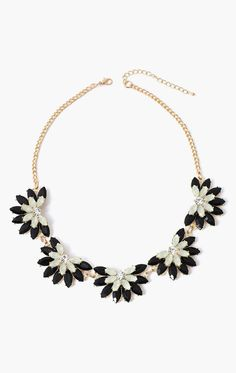 Black  Opal Flower Stone Necklace