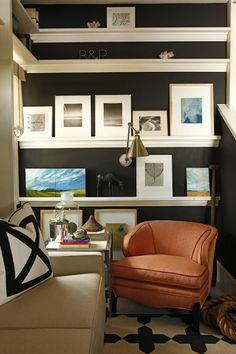 black walls - white shelves and stick a wall mounted lamp in there for fun!