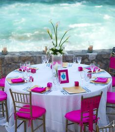 stylish Pink Beach Wedding Reception #caribbeanparty #partyideas