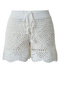 White Handknit Crochet Shorts