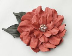 Pink flower pin leather brooch coral dahlia by Leatherblossoms, $60.00