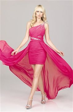 Over-lay bright colored prom dress