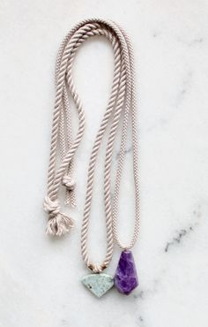 Rope, marble and amethyst necklaces