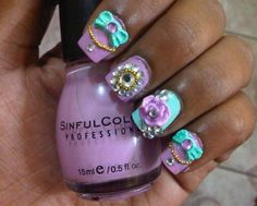 Pastel Hime Gyaru Nails (3D nails) - LOVE this color....not really all the crap on the nails