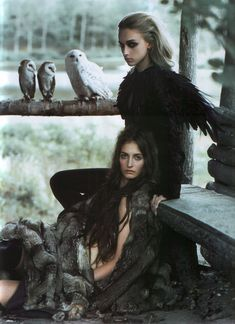 Feathers and Fur   fashion editorial   owls   nature   totem   natural   medicine women  