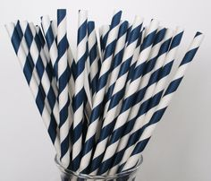 50 NAVY BLUE & White Stripe Paper Strawswith DIY by DimeStoreBuddy, $8.00