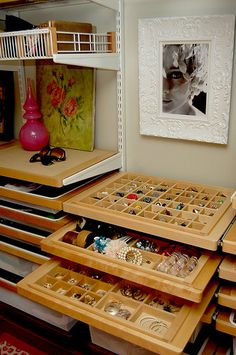 Organized jewelry and accessories space in Kelley Moore's Seattle dressing room #closet #jewelry #organization #storage