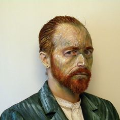 Manchester-based artist James Birkbeck applied makeup to himself to look like one of Vincent Van Gogh's self-portraits.