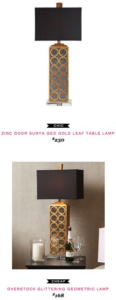 ZINC DOOR SURYA GEO GOLD LEAF TABLE LAMP $230  -vs-  OVERSTOCK GLITTERING GEOMETRIC LAMP $168