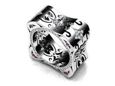 Ring |  LUZ Designs.  18kt white gold, rubies, white and black diamonds.