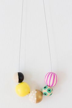 No. 5 hand painted wooden bead necklace