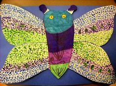Pointillism Butterflies - cool colors