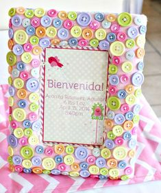Button frame at a Baby Shower Party!  See more party ideas at CatchMyParty.com!