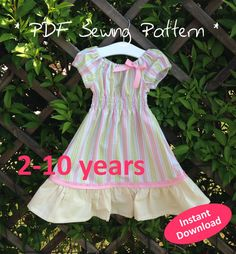 Girl's Shirred Peasant Dress with Sleeves pattern for 2 to 10 years - PDF sewing pattern, easy & quick to sew, child's sewing pattern #mummykinsandme