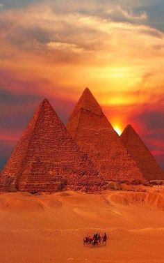Perfect sunset over the pyramids in Egypt