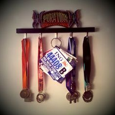 what to do with race bibs and medals. Fun idea