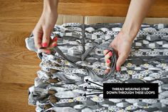 Make Your Own Woven Rag Rug from old sheets // by abeautifulmess.com