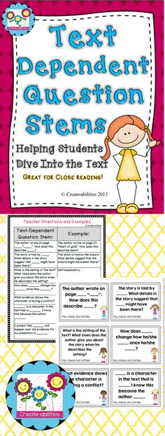 Text-dependent question stems. Great for close reading, literature circles, guided reading and more! $ #textdependentquestions #createabilities #reading text dependent questions stems, reading stems, question stem