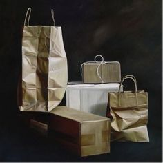 """Karen Hollingsworth """"Bags and Boxes"""" Oil on Canvas, 36 x 36 inches"""